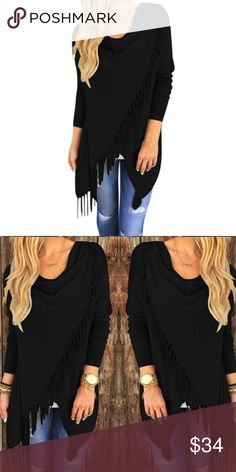 Black Poncho Tassel Sweatshirt NWT in original packaging. Beautifully designed sweatshirt. Perfect for the fall weather!  Sweaters Shrugs & Ponchos