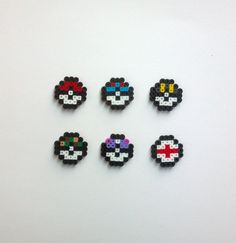 Bulk Order Party Pack Mini Pokeball Pokemon Perler Bead Sprites Birthday Favors 8 Bit Kandi Art Design Pin Magnet Earrings Necklace Pendant