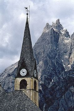 Clock Hourglass Time:  #Clock tower, S.Vito di Cadore, Italy.