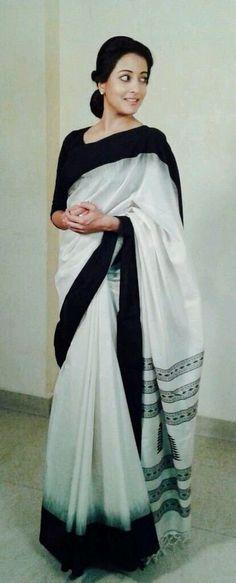 Black and White Sari