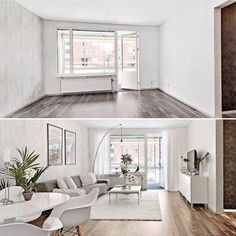 I love a good before and after home staging by Sinterklaas.nu Haus - Garten - Deko - DIY I love a good before and after home staging by Sinterklaas. Condo Living Room, Living Room Remodel, Small Living Rooms, Living Room Decor, Living Walls, Dining Living Room Combo, Small Living Dining, Rectangular Living Rooms, Condo Bedroom