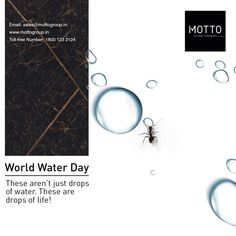 """""""No matter how rich you are, you can't live without water."""" World Water Day..! #Motto #Tiles #mottogroup #Ceramic #FloorTiles #slabtiles #CeramicTiles #CeramicTile #SlabTile #Slab #Tile #Marbles #MarblePlus #WorldWaterDay #WaterDay #wateroflife #ConserveWaterSaveLife #WorldWaterDay2021 International Days, World Water Day, Water Conservation, Save Life, Marbles, Motto, Tiles, Room Tiles, Conservation Of Water"""