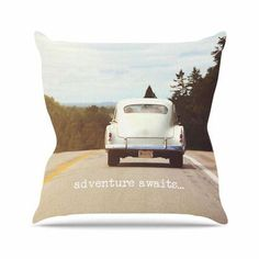 """East Urban Home Adventure Awaits Angie Turner Throw Pillow Size: 20"""" H x 20"""" W x 4"""" D"""