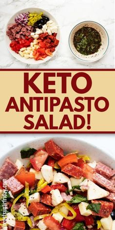 You are going to LOVE this easy keto recipe: Keto Antipasto Salad! It is so fresh, flavorful, and delicious and can be made with a handful of simple ingredients. Ketogenic Recipes, Diet Recipes, Healthy Recipes, Soup Recipes, Yogurt Recipes, Cheese Recipes, Salad Recipes, Recipies, Dessert Recipes