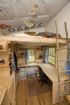 "Other than climbing over the person to get to the far side of the bunk, I like the fact that there seems to be a bit more headroom at the ""head"" of the bed.  I'm worried about smacking my head on the roof in other tiny houses with the 12/12 peaked roof.  :-/"
