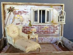 Madeline Shabby Fairy House   Flickr - Photo Sharing! (jt-no room for a dolls house? this lovely fairy room was made from a cigar box .. and it has opening windows!)