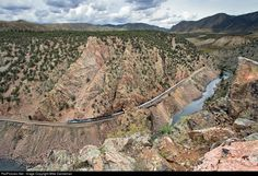 Amtrak's California Zephyr, curves westbound through Tunnel 40 in scenic Little Gore Canyon west of Azure, Colorado