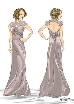 Fornt and Back Long Dress Sketch