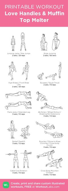 Love Handles & Muffin Top Melter Printable Illustrated Gym Workout for Women