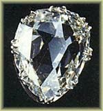 The Sancy - 55 Carats, it was cut in a pear shape and was first owned by Charles the Bold, Duke of Burgundy, who lost it in battle in 1477. The stone is in fact named after a later owner, Seigneur de Sancy, a French Ambassador to Turkey in the late 16th century.