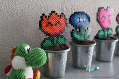 Yoshi laine fleur Mario perles à repasser beads Hama Yoshi, Hama Mario, Diy Fleur, Crochet Earrings, Pokemon, Quirky Gifts, Gift Ideas, Wool, Flowers
