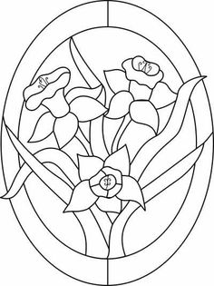 Daffodil Pattern - My site Stained Glass Patterns Free, Stained Glass Quilt, Stained Glass Flowers, Faux Stained Glass, Stained Glass Designs, Stained Glass Projects, Mosaic Patterns, Stained Glass Windows, Mosaic Art