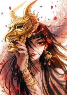 苍琼-古戈力_女神,面具_涂鸦王国插画