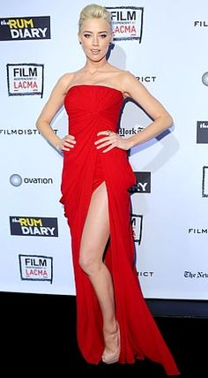 Amber Heard Wears Sexy Red Dress With Super-High Slit