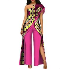 2017 new autumn African jumpsuit for women sexy off shoulder Jumpsuit dashiki clothing batik wax printing pure cotton African Attire, African Wear, African Dress, African Outfits, African Fashion Ankara, African Print Fashion, Africa Fashion, Traditional African Clothing, Traditional Outfits
