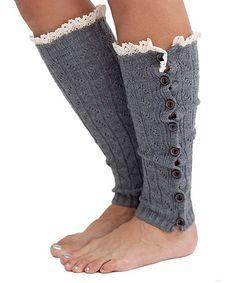 Charcoal Crochet-Trim Leg Warmers #zulily #zulilyfinds