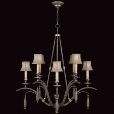 Fine Art Lamps Villa Vista 807040ST Chandelier in hand painted driftwood finish on metal with silver leafed accents and hand-sewn driftwood linen shades.
