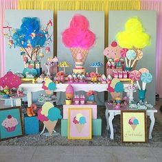 Candy Theme Birthday Party, Donut Birthday Parties, Candy Party, Birthday Decorations, Popsicle Party, Ice Cream Candy, Girl Birthday, Diy, Birthdays