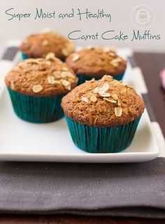 Super Moist and Healthy Carrot Cake Muffins. Made with coconut oil and whole wheat flour. So good you won't believe they're good for you! - Little Spice Jar