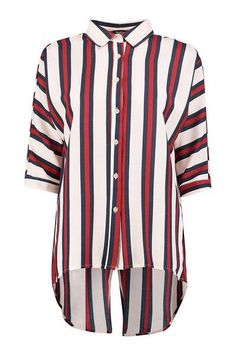 Boohoo Split Back Striped Shirt
