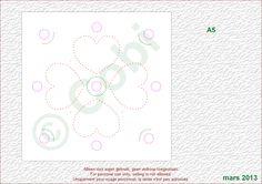 faite-maison  modèle de broderie sur carte A5 - coeurs + ronds