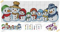Natal Kawaii Cross Stitch, Xmas Cross Stitch, Cross Stitch Borders, Cross Stitch Charts, Cross Stitch Designs, Cross Stitching, Cross Stitch Embroidery, Cross Stitch Patterns, Crochet Cross