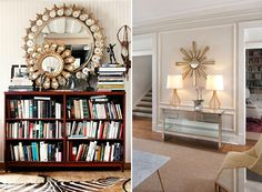 bookshelf with layered mirror...maybe with different mirrors...don't like these
