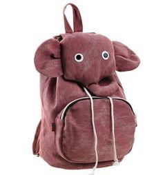 Cute Elephant Canvas Backpack