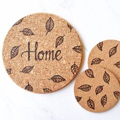 items-similar-to-free-shipping-home-trivet-and-coaster-set-woodburned-trivet-housewarming-wedding-gift-minimalist-bridal-shower-farmhouse-table-decor-on-etsy/ - The world's most private search engine Wood Burning Crafts, Wood Burning Patterns, Wood Burning Art, The Coasters, Build A Farmhouse Table, Farmhouse Table Decor, Cork Trivet, Cork Sheet, Cork Crafts