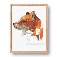 Fox cross stitch pattern Geometric fox PDF by galabornpatterns