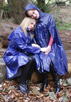 Blue PVC Raincoat & Hooded Cape