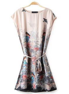 Apricot Sleeveless Birds Floral Print Dress - Sheinside.com