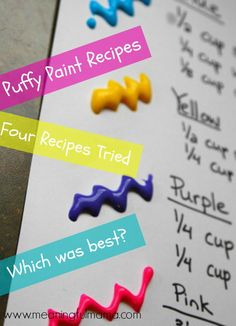 Best Puffy Paint Recipe on the Web - Meaningful Mama