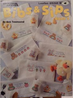 Bibs and Sips Baby-Teddy Bears-Baby Ducks-Counted Cross Stitch Patterns #LeisureArts #Sampler