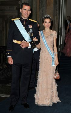 Crown Prince Felipe of Spain and Crown Princess Letizia of Spain attend the Wedding Banquet for Crown Princess Victoria of Sweden and her husband prince Daniel at the Royal Palace on June 19, 2010 in Stockholm, Sweden.