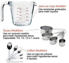 Tabela de Pesos e Medidas                                                                                                                                                                                 Mais Liquid Measuring Cup, Measuring Cups, Cooking Classes, Cooking Tips, Kitchen Cheat Sheets, Clean Eating Tips, Cake Tutorial, Food And Drink, Healthy Recipes
