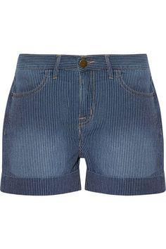 Current/Elliott   The Rolled Boyfriend striped cotton shorts   NET-A-PORTER.COM