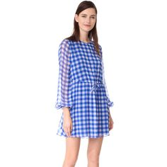 Diane von Furstenberg Check Mini Dress ($210) ❤ liked on Polyvore featuring dresses, cossier large klein blue, blue shift dress, blue long sleeve dress, diane von furstenberg dress, mini dress and checkered dress