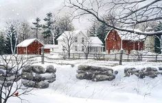 A larger image of the print, Wintry Day, a print of an original watercolor by Kathy Glasnap of Door County, Wisconsin
