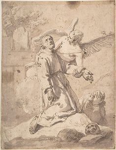 Saint Francis, Anonymous, Italian, 17th or 18th century, Pen and brown ink, brush and brown wash on cream colored laid paper. Remains of framing outlines in brown ink along left, bottom, and right edges: 12-1/16 x 9-1/4 in.