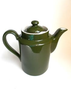 #HallPottery Restaurant Ware Teapot Coffee Carafe Green Lock Lid  #Hall