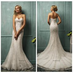 Wholesale Mermaid Wedding Dresses - Buy Ivory Mermaid Wedding Dresses 2015 Tulle Sweetheart Sleeveless Backless Button Sweep Train Fall Winter Beading Sequins Bridal Amelia Sposa, $316.2 | DHgate.com