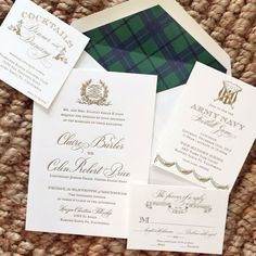 Placing the tartan colors inside the envelope of our wedding invites.