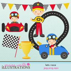 Lets Race clipart set comes with 7 cute race car graphics including: 2 boys in racecars, a boy in a race driver uniform, a race track, a racing banner, a finish line flag and a winners trophy!