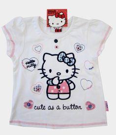 83f6c238a Hello Kitty T-Shirts · GIRLS HELLO KITTY SANRIO CUTE AS A BUTTON PRETTY  WHITE TOPS. Girls, Babies and