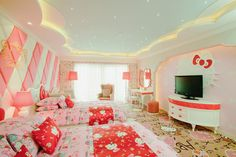 Hello Kitty bedroom - Woah, I think Mr.O would be upset if I redecorated our room like this. ;)