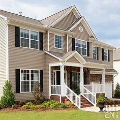 Shutter dark brown house trim colors for beige modern farmhouse exterior front door with shutters House Siding Options, Exterior Siding Options, Exterior House Siding, Brick Siding, Exterior Color Schemes, Exterior Paint Colors For House, House Color Schemes, Paint Colors For Home, Mastic Siding