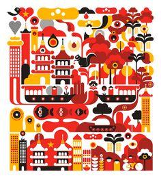 Fernando Togni a créé ces illustrations de villes qui en montrent les endroits à voir stylisés.