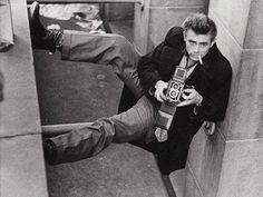 James Dean's searching for the suitable camera angle (circa 1950s).