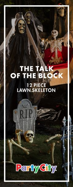 """Dead, half buried and now making a comeback. Plant these human """"remains"""" in the ground to create the illusion of a skeleton rising from the grave. This creepily amusing Halloween prop is durable, reusable and virtually weather proof. Make your house the talk of the block with Party City."""